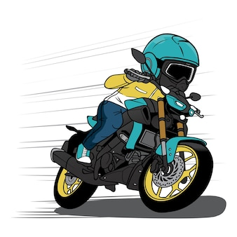 Biker beschleunigen sie mit motorrad-cartoon