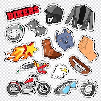 Biker doodle mit motorradzubehör