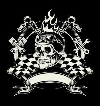 Biker-emblem mit totenkopf oder totem motorradrennfahrer