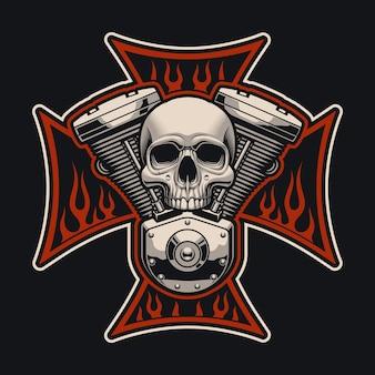 Biker-kreuz mit motorradmotor. diese abbildung kann als logo, kleidung und viele andere verwendungszwecke verwendet werden. Premium Vektoren