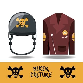 Biker-kultur-design mit helm und biker-weste-symbol