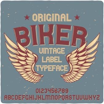 Biker-label-schrift