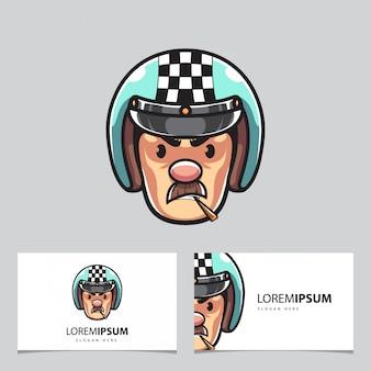 Biker mann maskottchen und visitenkarten