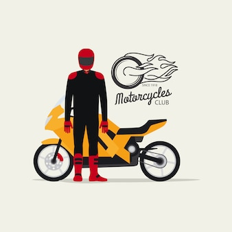 Biker mit motorrad im flachen stil