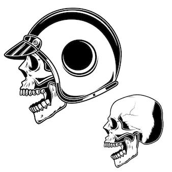 Biker-schädel im racer-helm. für logo, etikett, schild, poster, karte.