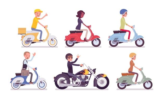 Biker- und rollerfahrer