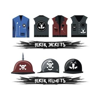 Biker-westen und helme-symbol