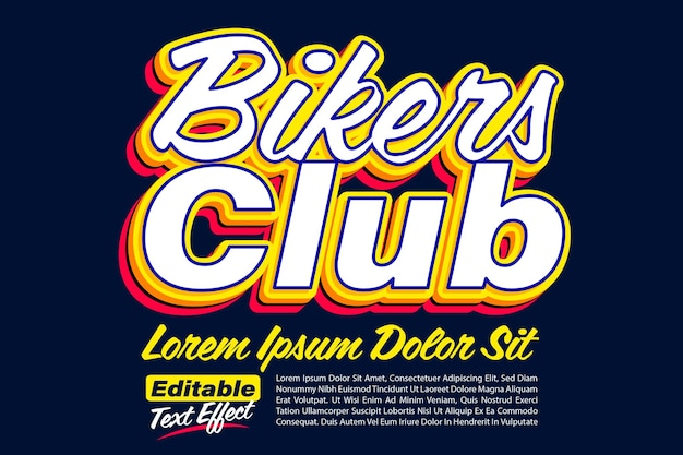 Bikers club bold pop texteffekt