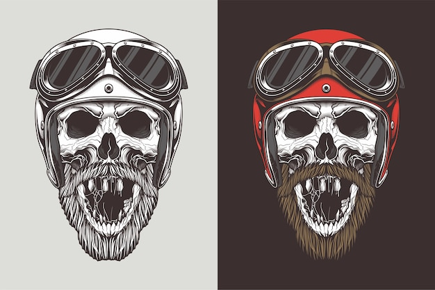 Bikerschädel im helm