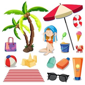 Bikini girl und strandelement