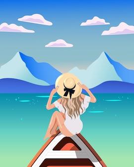 Bikinimädchen, das auf einer bootsillustration sitzt
