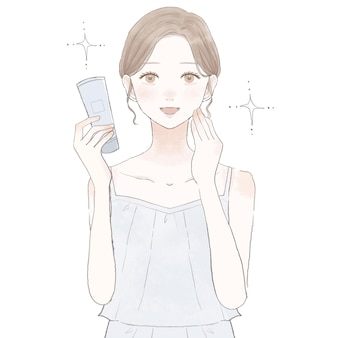 Bild der wirkung von kosmetika. auf weißem hintergrund.