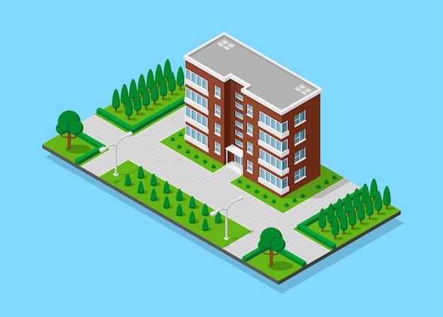 Bild des dazugehörigen hauses mit fußwegen, bäumen und straßenlaternen, niedrigem polystadtgebäude, isometrischem symbol oder infografikelement für stadtplanerstellung