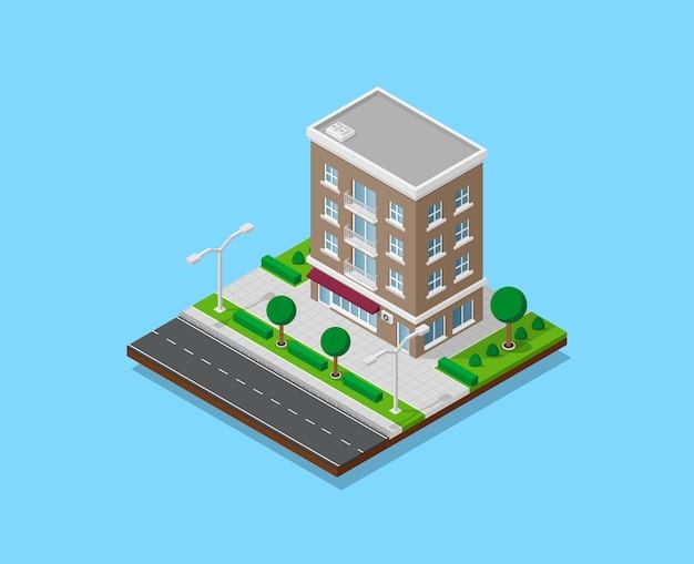 Bild des dazugehörigen hauses mit fußwegen, straße, bäumen und straßenlaternen, niedrigem polystadtgebäude, isometrischem symbol oder infografikelement für stadtplanerstellung