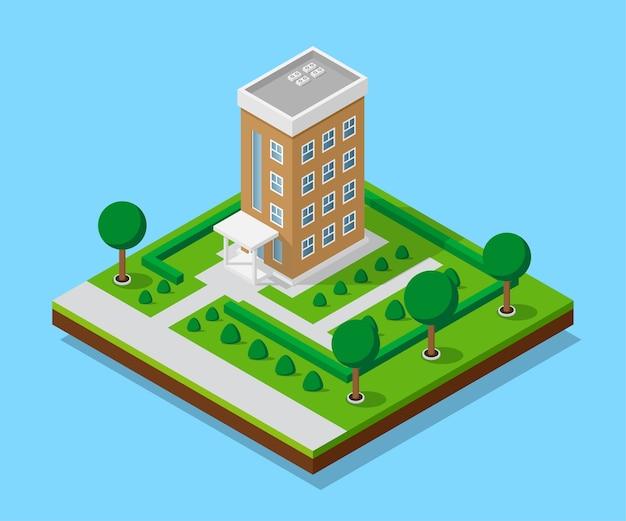 Bild des dazugehörigen hauses mit fußwegen und bäumen, niedrigem polystadtgebäude, isometrischem symbol oder infografikelement für stadtplanerstellung