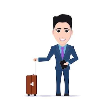 Bild des karikaturgeschäftsmannes im anzug mit gepäcktasche