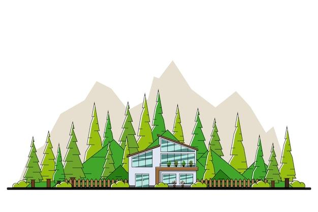 Bild des modernen privaten wohnhauses mit hügeln und bäumen auf hintergrund-, immobilien- und bauindustriekonzept