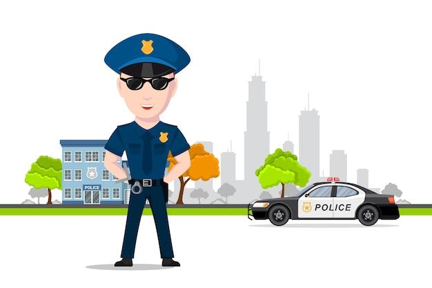 Bild des polizeibeamten vor dem polizeiauto und dem polizeiabteilungsgebäude. polizeidienst, rechtsschutzkonzept. .