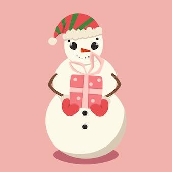 Bild einer zeichentrickfigur. schneemann mit einem geschenk in den händen.