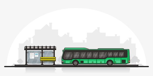 Bild eines busses hielt nahe bushaltestelle mit einer stadtschattenbild auf hintergrund. konzept des öffentlichen verkehrs. flache linearillustration.