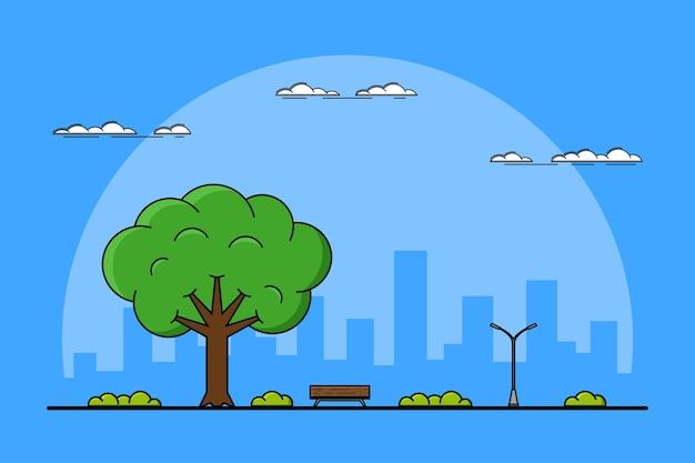 Bild eines großen baum-, bank- und straßenlaternen-, park- und außenkonzepts, dünn