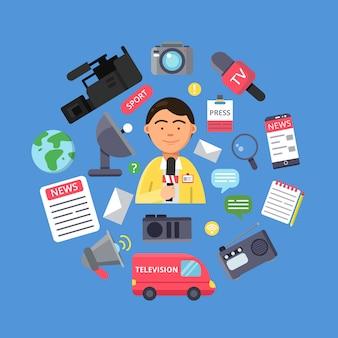 Bild eines journalisten und verschiedener spezifischer ausrüstung