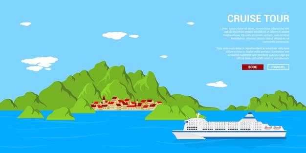 Bild eines kreuzfahrtschiffes, das in der nähe eines kleinen dorfes treibt, stilkonzept bannet, reisen, urlaub, urlaubskonzept