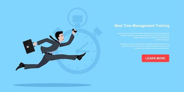 Bild eines laufenden geschäftsmannes mit aktentasche und smartphone, zeitnabagement-konzept