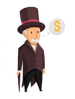 Bild eines lustigen kapitalisten des alten mannes in einem schwarzen anzug und in einem hut, die mit einem stock in seinen händen auf einem weißen hintergrund stehen. geschäft, finanzen, monopol, geld