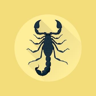 Bild eines skorpions auf gelbem hintergrund, stilillustration