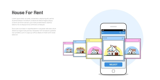Bild eines smartphones mit haussymbolen, haus zu vermieten, hausauswahlkonzept, flache artillustration