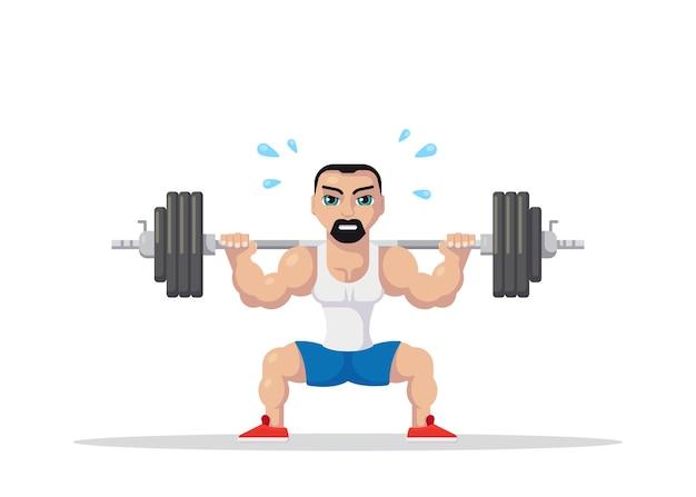 Bild eines starken athletenmannes, der kniebeugen mit langhantel auf nacken zurück tut. fitness-workout-konzept. flaches charakter-design.