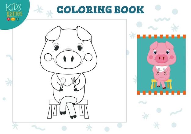 Bild kopieren und ausmalen, üben. lustiges karikaturschwein mit halsserviette zum zeichnen des minispiels