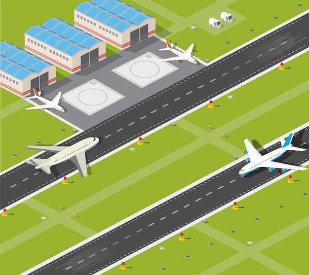 Bild mit den bildebenen und der rollbahn des flughafens