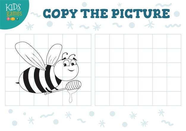 Bildabbildung kopieren. lernspiel für kinder im vorschulalter. cartoon-umrissbiene zum zeichnen