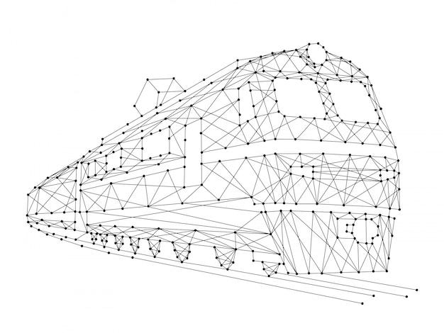 Bilden sie elektrische lokomotive mit wagen von den abstrakten futuristischen polygonalen schwarzen linien und von den punkten aus.