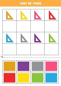 Bilder nach farbe sortieren. cartoon-herrscher. spiel für kinder. schneiden und kleben.