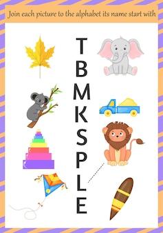 Bilder zum erlernen des alphabets für kinder. cartoon-stil. vektor-illustration.