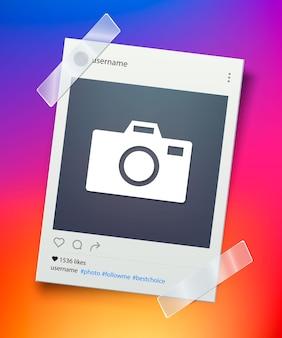 Bilderrahmen für soziale netzwerke. retro-fotorahmen mit klebeband befestigt. konzept für süße erinnerungen. vektor-illustration