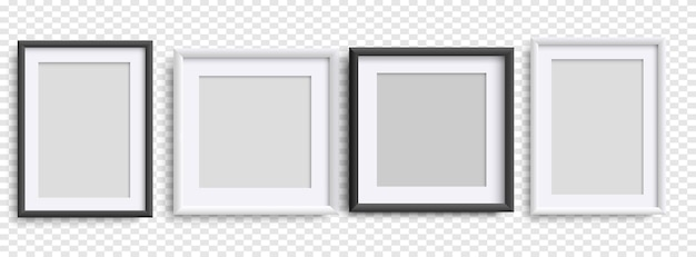 Bilderrahmen isoliert, realistische quadratische schwarz-weiß-rahmen mockup, vektor-set. leere rahmung für ihr design. vektorvorlage für bild, malerei, poster, schriftzug oder fotogalerie