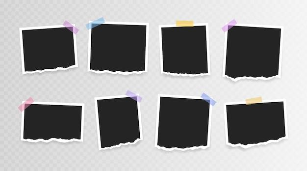 Bilderrahmen . super set fotorahmen mit zerrissenem papier auf klebeband auf transparentem hintergrund. vektorillustration.