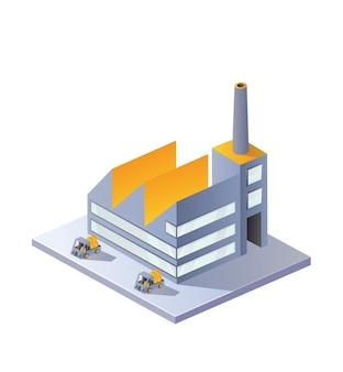 Bildfabrik in der isometrischen projektion auf einen weißen hintergrund