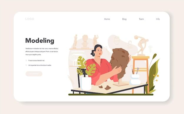 Bildhauer web-banner oder landing page, die eine marmorskulptur erstellen