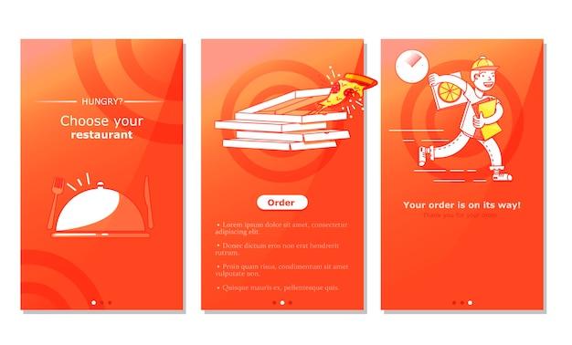 Bildschirm der app für die zustellung von lebensmitteln