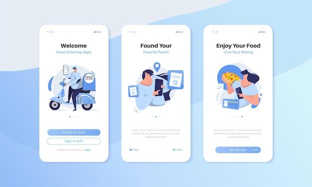 Bildschirm der mobilen benutzeroberfläche mit anwendungskonzept für die lebensmittelbestellung