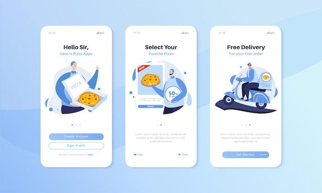 Bildschirm der mobilen benutzeroberfläche mit illustrationsset für die online-pizza-anwendung