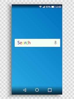 Bildschirm des smartphones für die gestaltung der benutzeroberfläche mit suchleiste