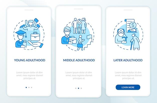 Bildschirm für die onboarding-seite der mobilen app für den lebenszyklus von erwachsenen. persönliche realisierung walkthrough 3 schritte grafische anweisungen mit konzepten. ui-, ux-, gui-vektorvorlage mit linearen farbillustrationen