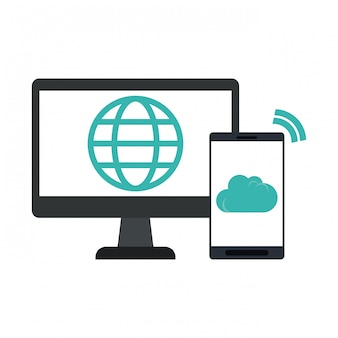Bildschirm mit globus und smartphone