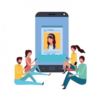 Bildschirm mit menschen um avatar charakter